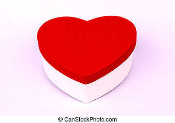 Red heart shape box on white background