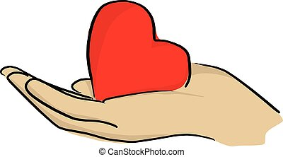 red heart shape in palm vector illustration sketch doodle hand drawn with black lines isolated on white background