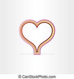 red heart shape lines symbol