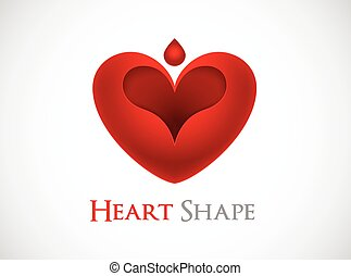 red heart shape logo vector