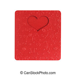 red heart shape on metallic color, card valentine on paper texture flower design