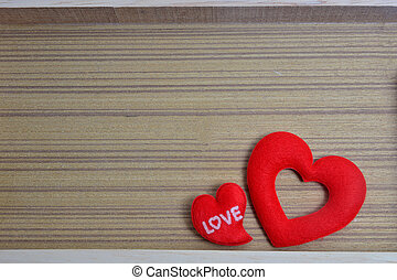 Red heart shape on wooden background , Valentine's day love heart card
