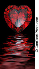 Red heart shaped garnet isolated reflected on water