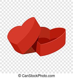 Red heart shaped gift box icon, flat style - Red heart...