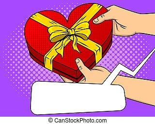 Red heart shaped gift box pop art vector