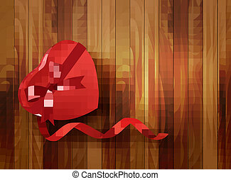 Red heart-shaped gift box with ribbon on wooden background. Vector.