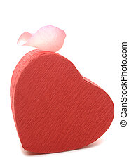 Red Heart-shaped Gift Box with Rose petal