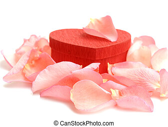 Red Heart-shaped Gift Box with Rose petals