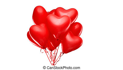 red heart shaped helium balloons on white