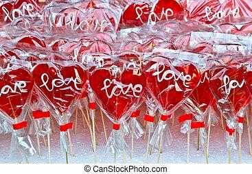red heart shaped lollipop
