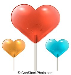 Red heart shaped lollipop