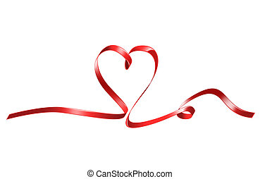 red heart shaped ribbon - bright picture of red heart shaped...