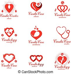 Red heart shapes made using ecg charts and caring hands. Set of cardiovascular system diseases remedy conceptual vector logotypes for use as cardio center emblems.