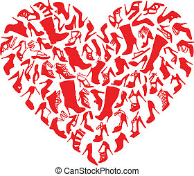 red heart made of shoe silhouettes, vector background