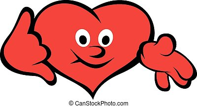 Red heart smile isolated on the white background
