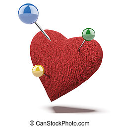 Red heart, studded with apins isolated on a white background. 3d render