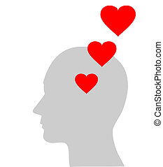 red heart symbol in head