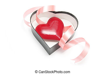 Red Heart Symbol in Heart-shaped Gift Box