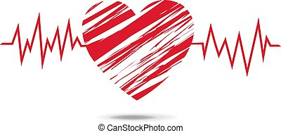 Red Heart Symbol Isolated White Background