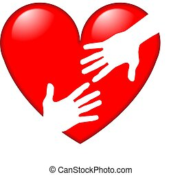 Red Heart symbol with hands