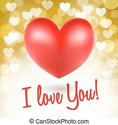 red heart symbols on glittering golden background and i love you words. vector