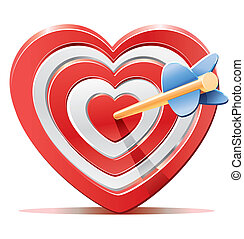 Red heart target aim with arrow