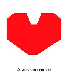 Red heart the black color icon .