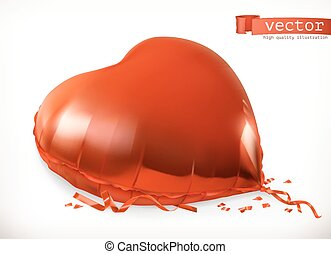 Red heart toy balloon. 3d vector icon
