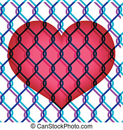 red heart under chain link fence - colorful illustration of...