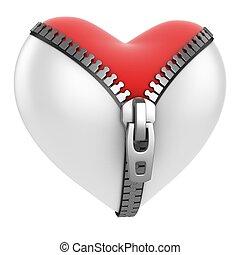 red heart under unzippe heart