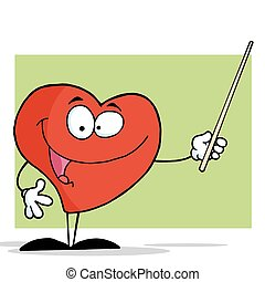 Red Heart Using A Pointer Stick