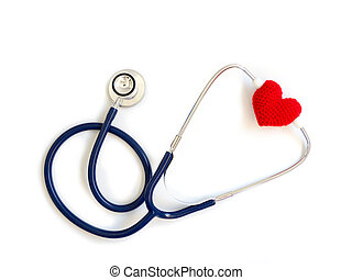 red heart using deep blue stethoscope on the white background (Isolated background). Concept of love and caring patient by the heart. Copy space for the text and contents