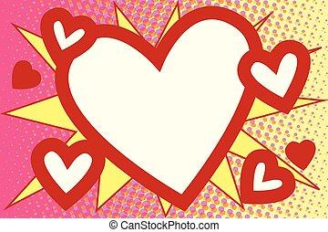 Red heart Valentines pop art background