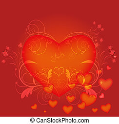 Red heart vector card.