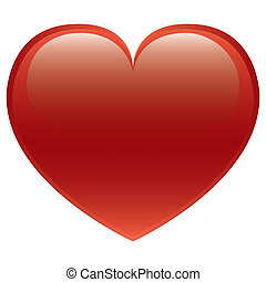Red Heart Vector - Glossy red heart vector isolated