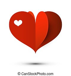 Red Heart Vector Love Symbol Isolated on White Background.