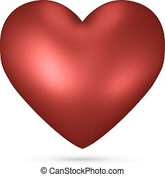Red heart vector shape isolated on white background..