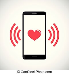 red heart vibrates in black smartphone