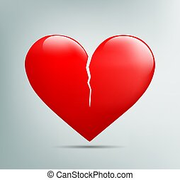 red heart with a crack