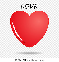 Red heart with a glare and shadow. Isolated on transparent background. Happy Valentine's day. Welcome template. The concept of romance. Vector design element.