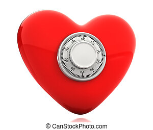 Red heart with a numeric safe lock isolated on white...