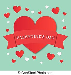 Red heart with a ribbon for Valentine s Day. Turquoise background with hearts.