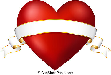 red heart with a ribbon