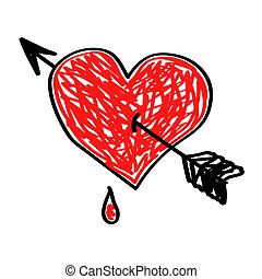 Red heart with an arrow on a white background.