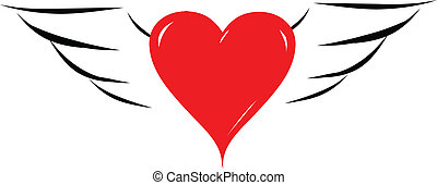 Red heart with angel wings vector illustration