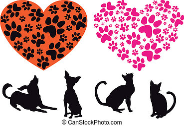 red heart with cat and dog footprint pattern, vector background