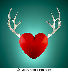 Red heart with antlers on a turquoise background 3D