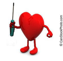 red heart with arms and legs and screwdriver on hand