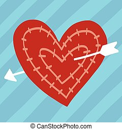 Red heart with arrow illustration on blue background
