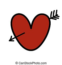 Red heart with arrow.